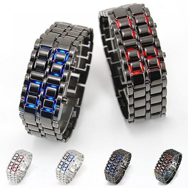 Samurai Metal Green LED Faceless Bracelet Watch
