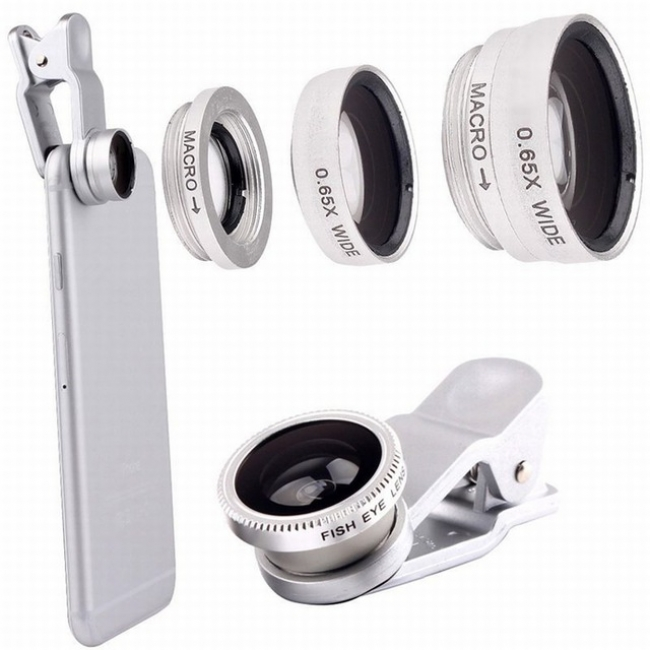 3 in 1 Clip Lens for Phone and Camera (Silver)