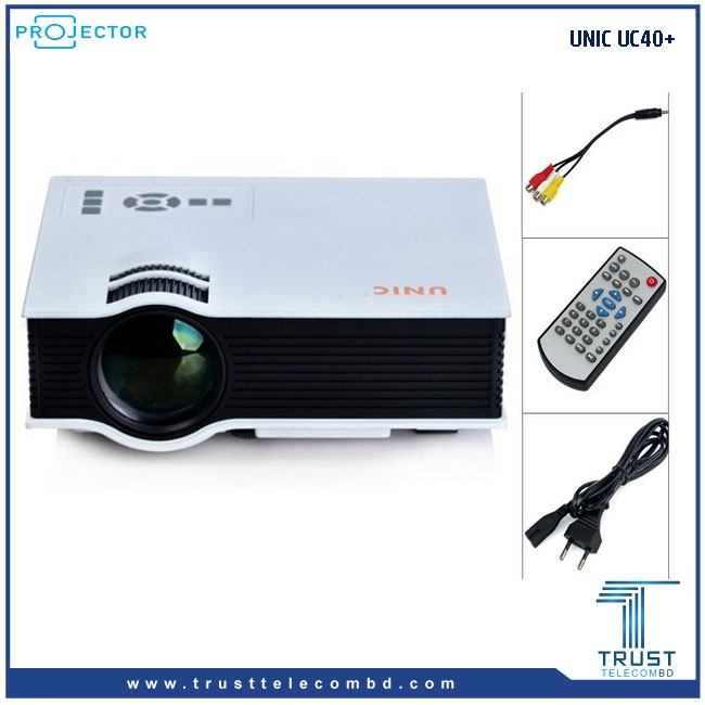 UNIC Home Cinema UC40 800 lumens video Projector bundled with the HDMI wifi TS-02 to allow displaying of wifi connections, smart phone displays and computer screen displayed for a full Cinema experience